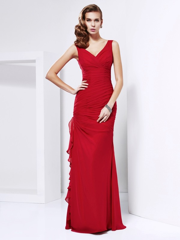 Chicregina Sheath Chiffon Long V-neck Dress With Beading