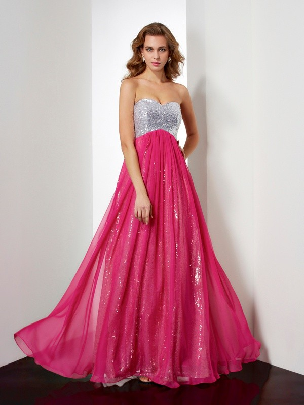 Elegant A-Line Sweetheart Long Chiffon Dress With Beading