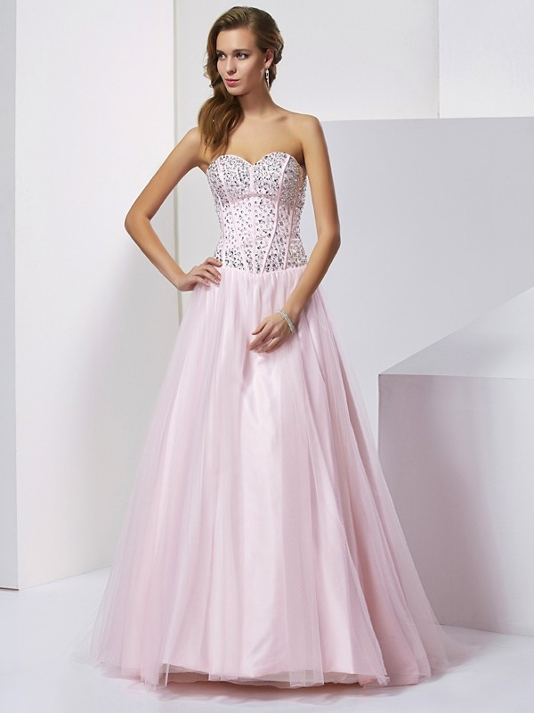 Chicregina Ball Gown Sweetheart Long Satin Dress With Sequin