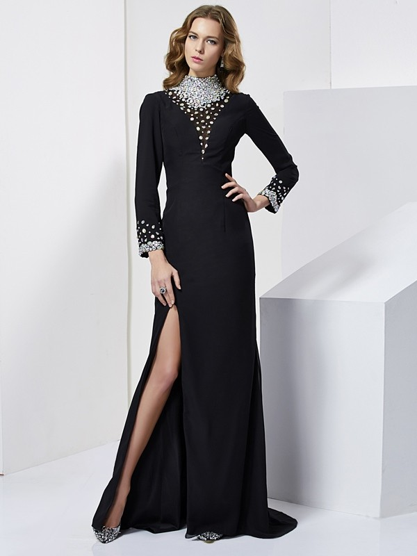 Chicregina Sheath Long Sleeves High Neck Sweep Train Chiffon Dress With Ruffles