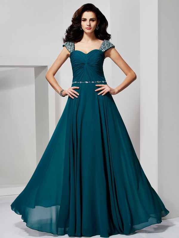 Chicregina A-Line Sweetheart Chiffon Dress With Beading