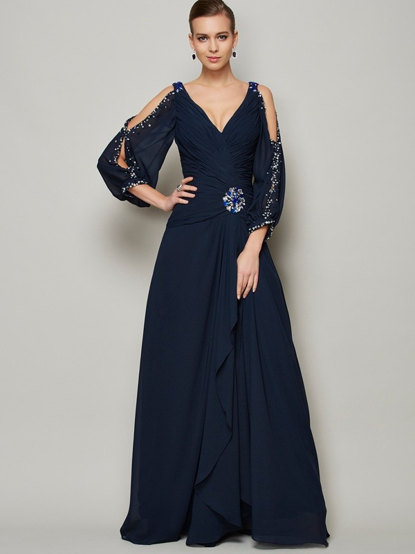 Chicregina A-Line V-neck Long Sleeves Chiffon Dress With Applique