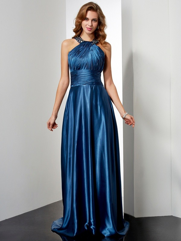 Chicregina A-Line Halter Long Elastic Woven Satin Dress With Applique