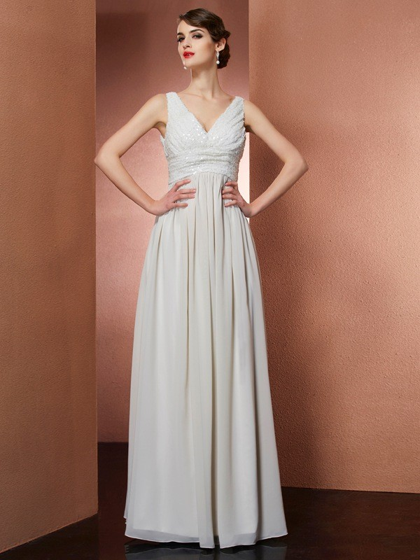 Chicregina A-Line V-Neck Long Chiffon Dress With Rhinestone