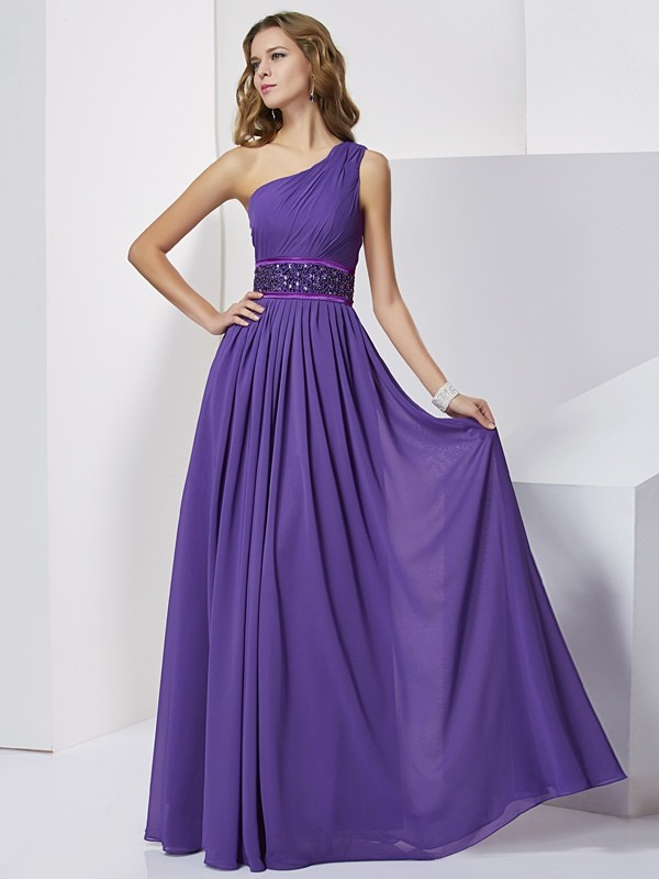 Chicregina Empire One-Shoulder Long Chiffon Dress With Ruched
