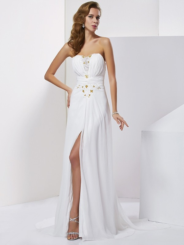 Chicregina Sleeveless A-Line Sweetheart Sweep Train Chiffon Dress With Sash