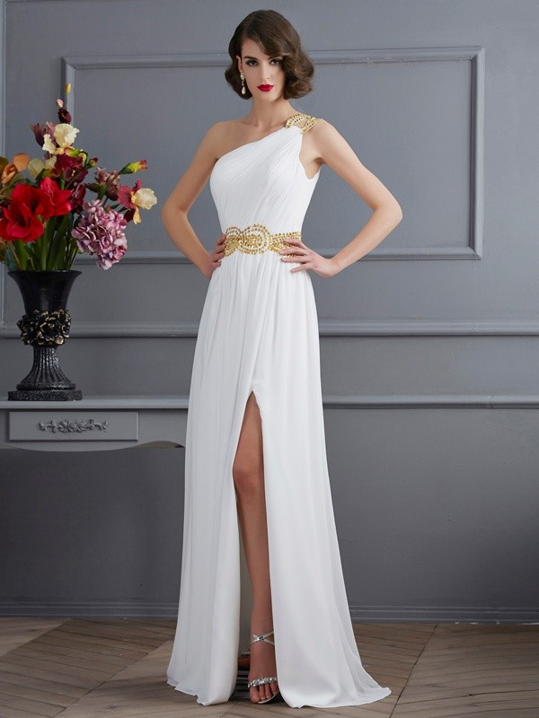 Chicregina A-Line One-Shoulder Sweep Train Chiffon Dress With Beading