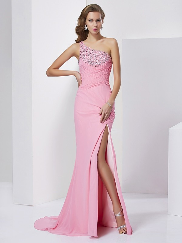 Chicregina Sheath One-Shoulder Sweep Train Chiffon Dress With Sash