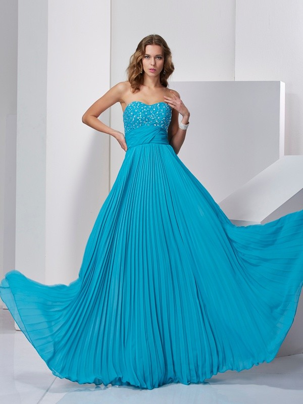 Chicregina Sleeveless-A-Line Sweetheart Long Chiffon Dress With Ruffles