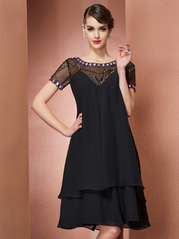 Chicregina A-Line Scoop Short Sleeves Chiffon Knee-Length Mother Of The Bride Dress With Beading