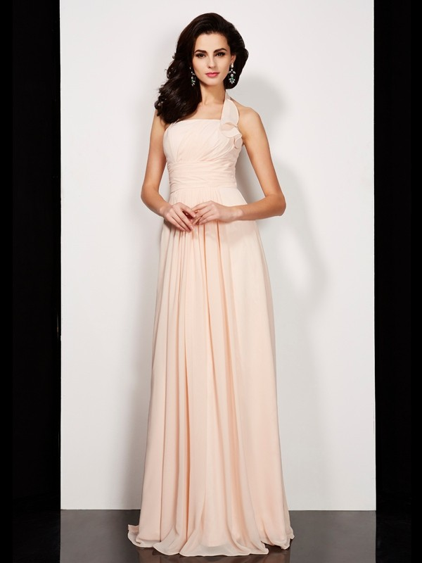 Chicregina Sleeveless-A-Line Halter Long Chiffon Dress With Beading