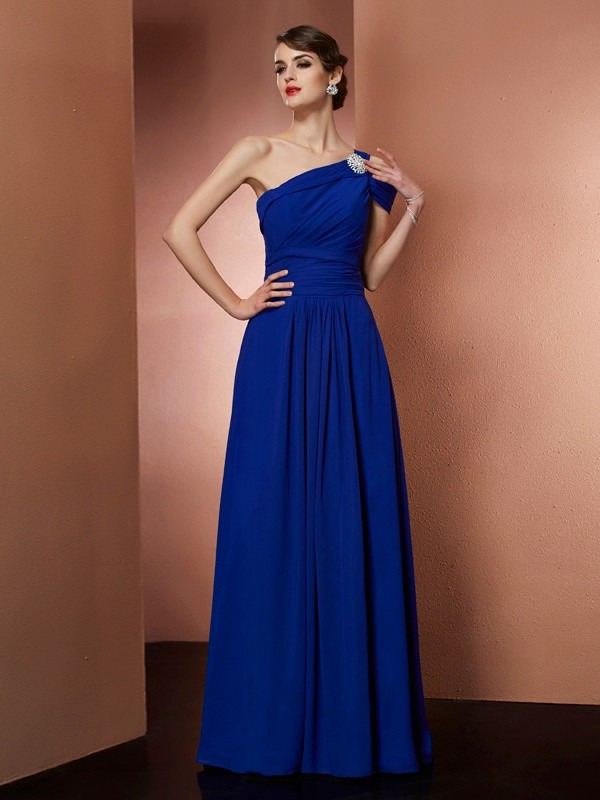 Chicregina Sleeveless A-Line One-Shoulder Chiffon Long Dress With Beading