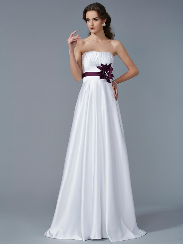Chicregina A-Line Strapless Satin Sweep Train Dress With Pleats