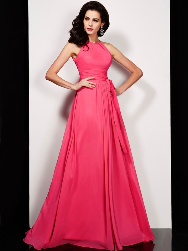 Chicregina A-Line Long High Neck Chiffon Dress With Sash