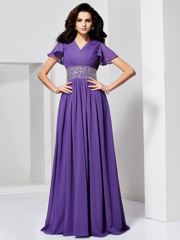 Chicregina A-Line Short Sleeves V-neck Long Chiffon Dress With Embroidery
