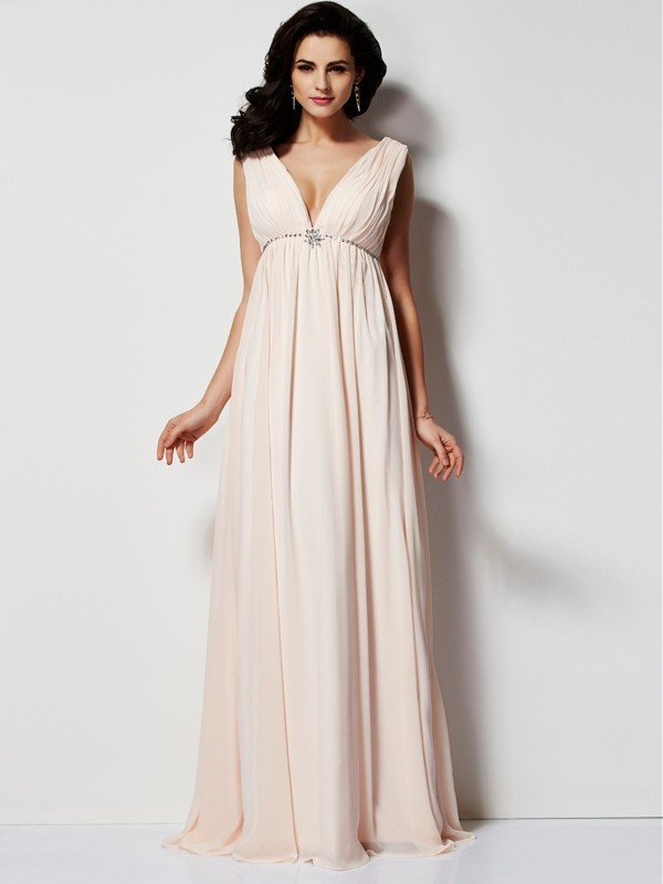 Chicregina A-Line V-neck Long Chiffon Dress With Beading
