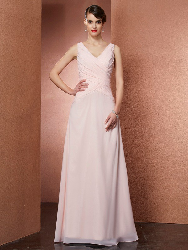 Chicregina A-Line V-neck Chiffon Long Dress With Ruffles