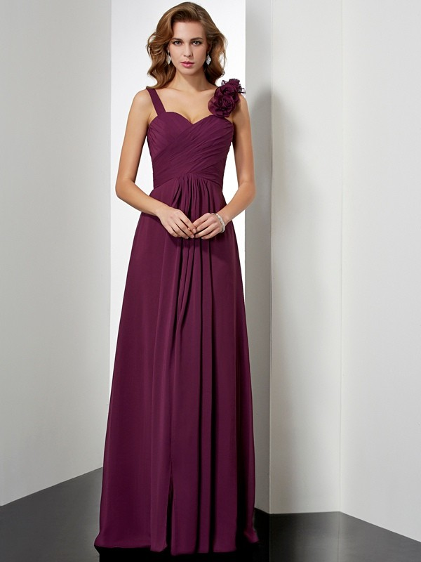 Chicregina Sleeveless A-Line Straps Long Chiffon Dress With Beading