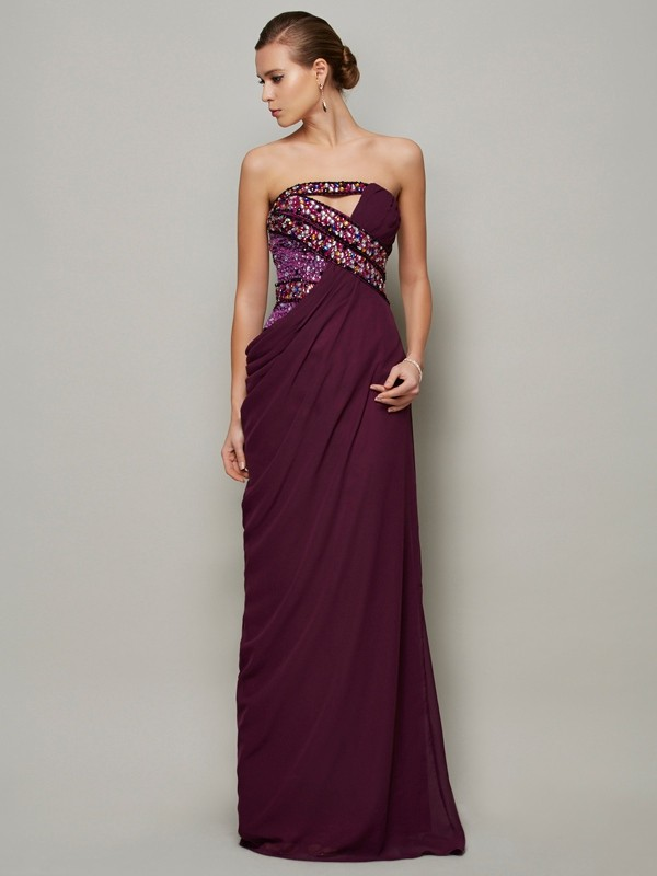 Chicregina A-Line Strapless Long Chiffon Dress With Applique