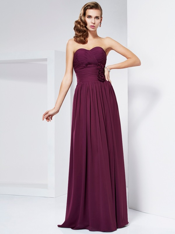 Chicregina Sheath Sweetheart Pleats Long Dress With Embroidery