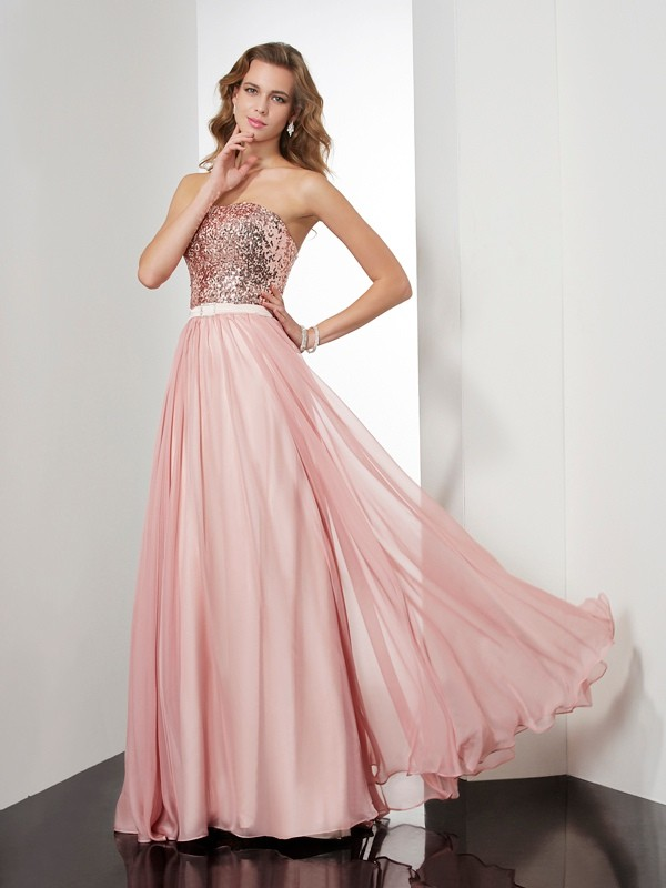 Chicregina A-Line Strapless Long Chiffon Dress With Ruffles