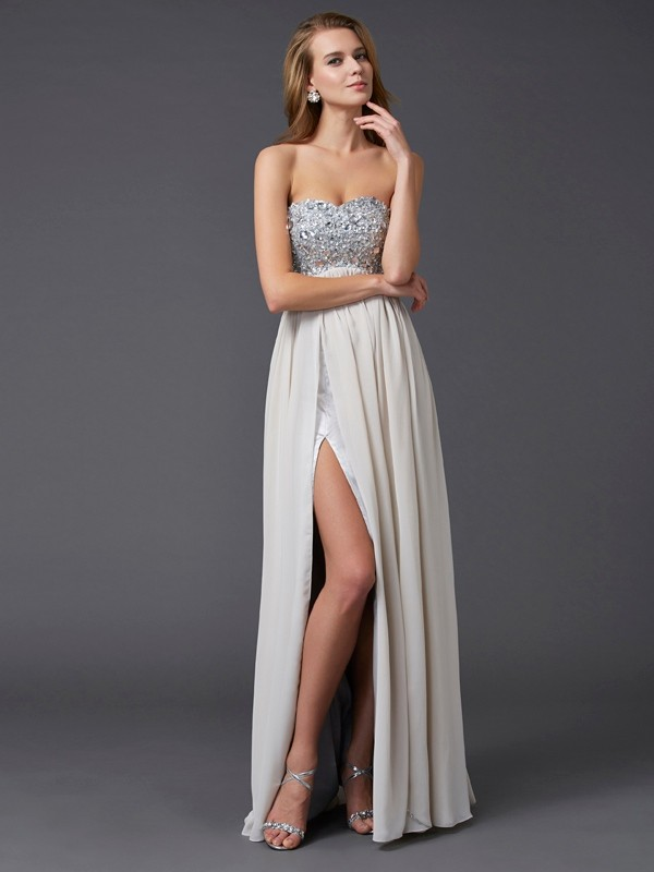 Chicregina A-Line Ankle-length Sweetheart Chiffon Dress With Rhinestone