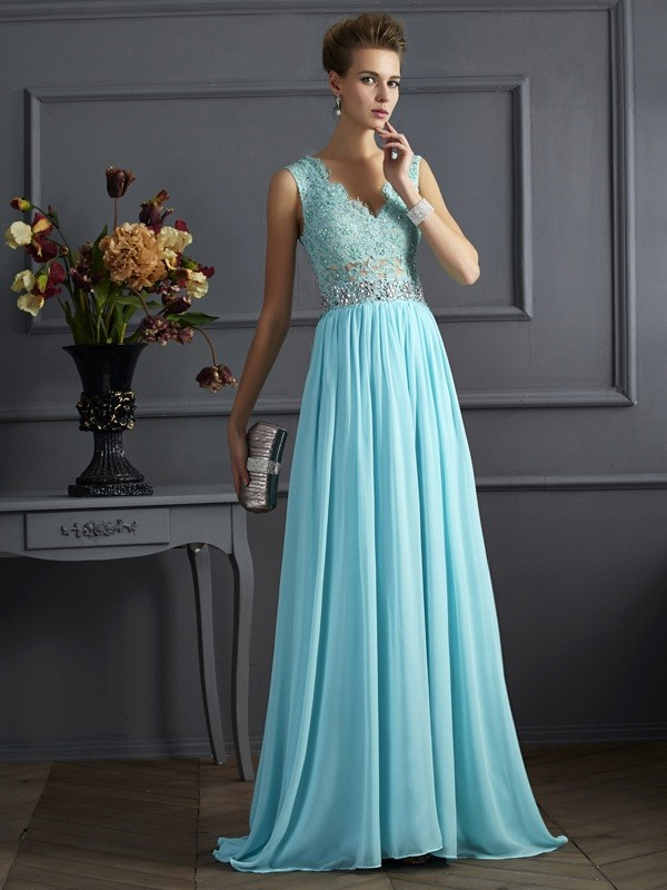 Chicregina A-Line Straps Lace Long Chiffon Dress With Beading