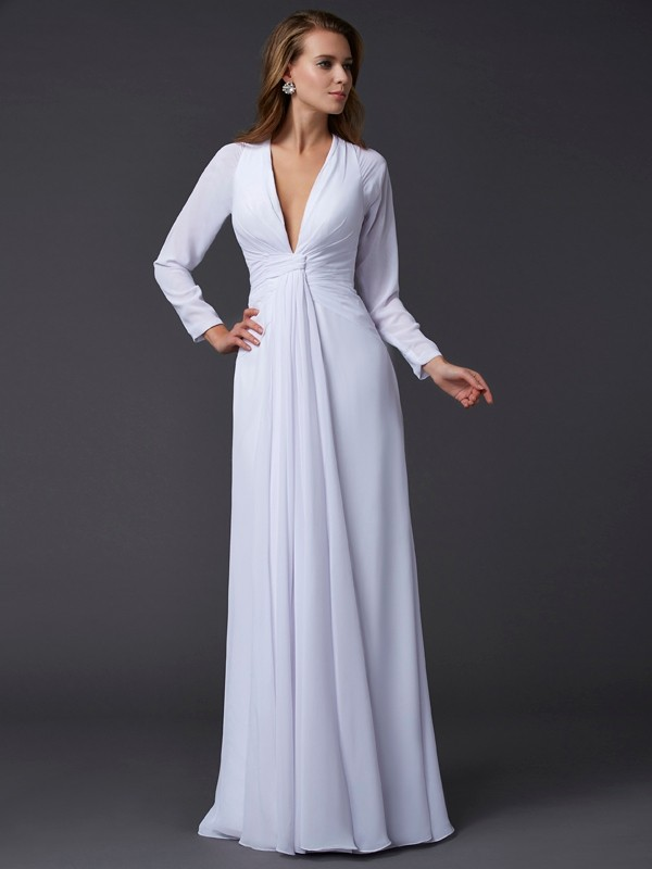 Chicregina Sheath Long Sleeves V-neck Long Chiffon Dress With Sash