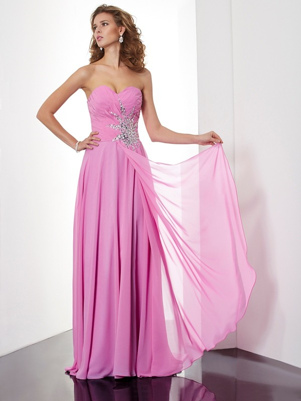 Chicregina Sleeveless A-Line Long Sweetheart Chiffon Dress With Beading