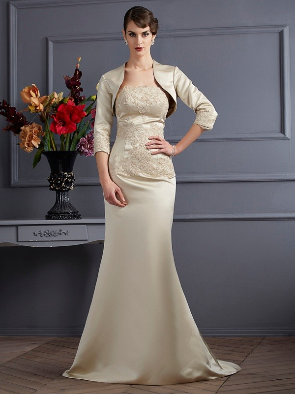 Chicregina Mermaid Strapless Satin Mother Of The Bride Dress With Ruched