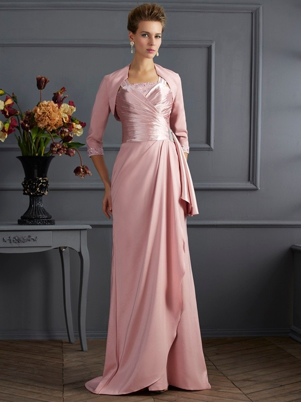 Chicregina Sheath Straps Sweep Train Elastic Woven Satin Mother Of The Bride Dress With Beading