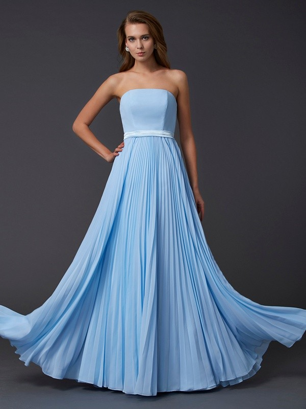 Chicregina A-Line Strapless Chiffon Long Dress With Embroidery