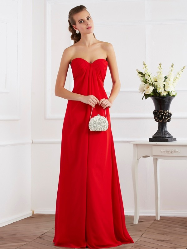 Chicregina Elegant A-Line Sweetheart Long Chiffon Dress With Beading
