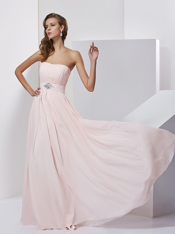 Chicregina A-Line Strapless Chiffon Long Dress With Pleats