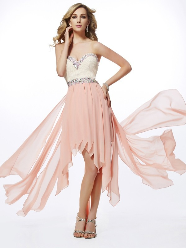 Chicregina A-Line Sweetheart Asymmetrical Chiffon Dress With Ruched
