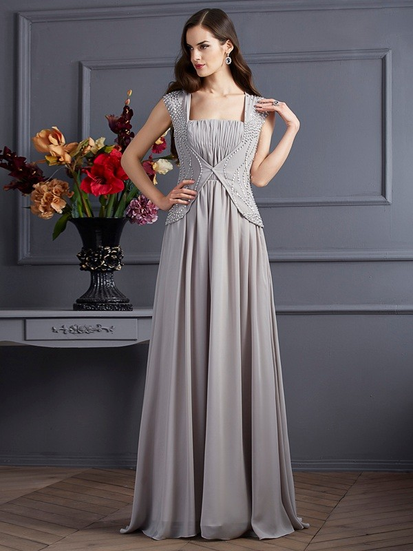Chicregina A-Line Square Chiffon Long Dress With Beading