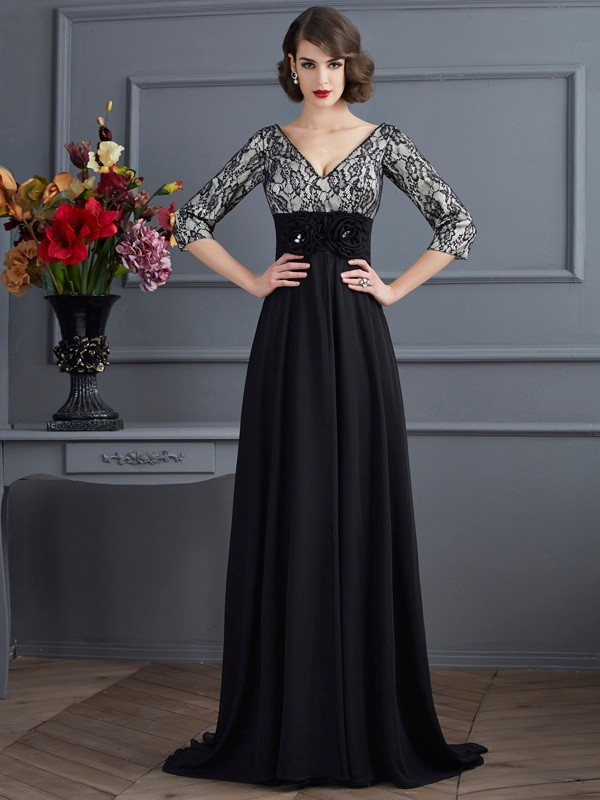 Chicregina Sheath V-neck 3/4 Sleeves Chiffon Sweep Train Dress With With Lace Beading
