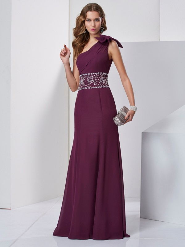 Chicregina Unique A-Line One-Shoulder Long Chiffon Dress With Beading