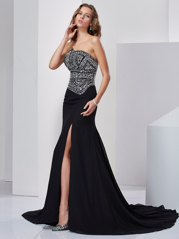 Chicregina A-Line Strapless Chiffon Sweep Train Dress With Beading