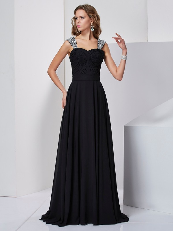 Chicregina Maxi Sheath Straps Sweep Train Chiffon Dress With Beading