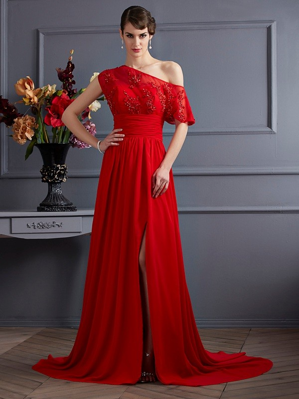 Chicregina A-Line One-Shoulder Chiffon Court Train Dress With Sequin