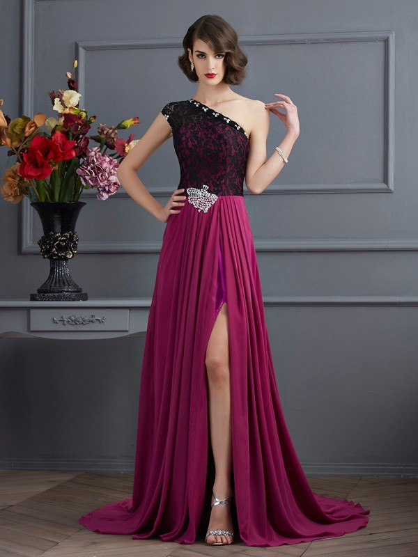 Chicregina A-Line One-Shoulder Sweep Train Chiffon Dress With Applique