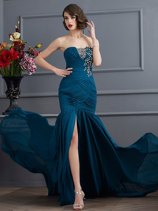 Chicregina Mermaid Strapless Sweep Train Chiffon Dress With Rhinestone