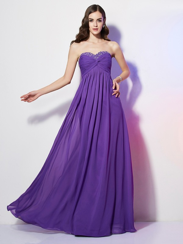 Chicregina A-Line Sweetheart Chiffon Long Dress With Lace