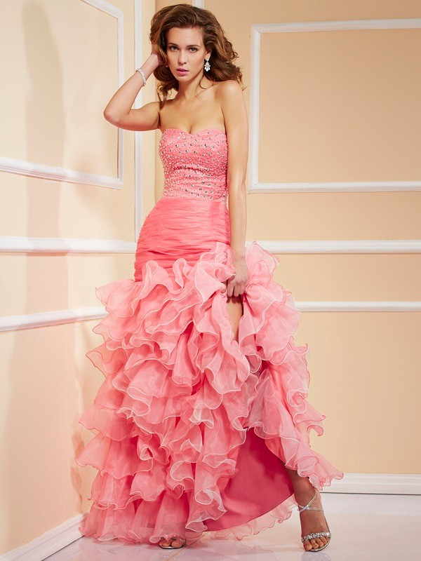 Chicregina Mermaid Sweetheart Asymmetrical Organza Dress With Beading