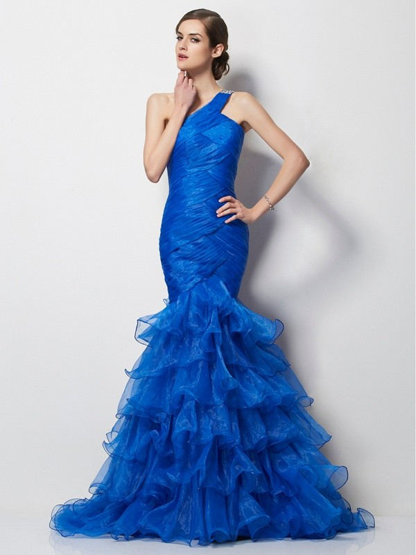 Chicregina Mermaid One-Shoulder Sweep Train Tulle Dress With Sequin
