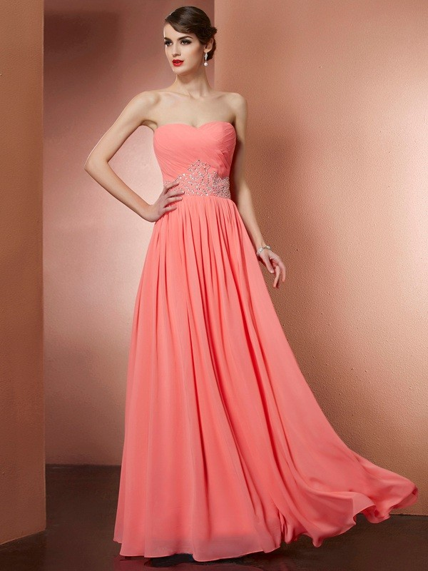 Chicregina A-Line Strapless Chiffon Long Dress With Beading