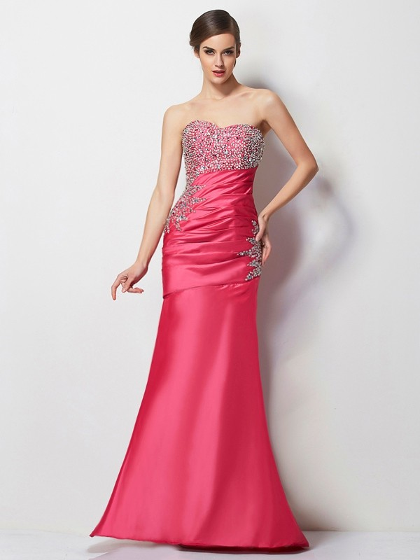 Chicregina Mermaid Sweetheart Long Taffeta Dress With Rhinestone