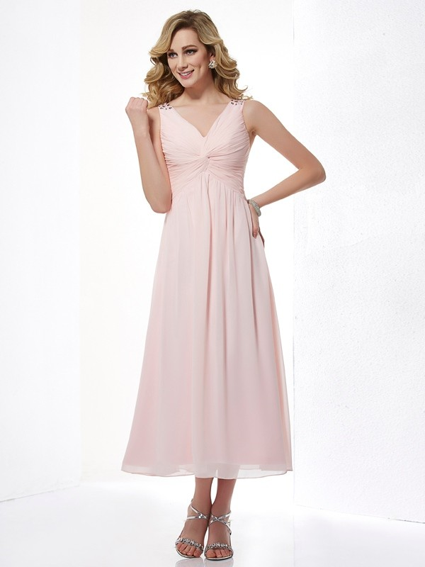 Chicregina A-Line V-neck Chiffon Tea-Length Dress With Pleats