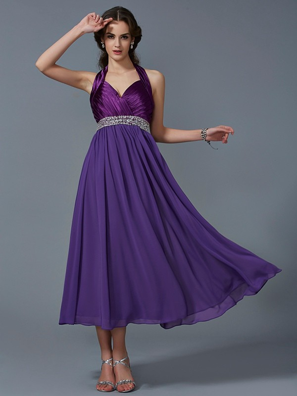 Chicregina A-Line Halter Ankle-Length Chiffon Dress With Rhinestone
